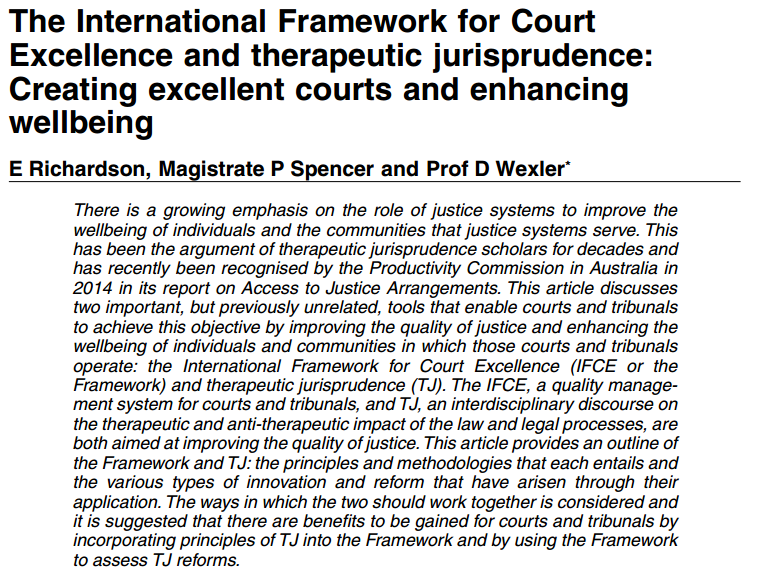 International Framework for Court Excelence and Therapeutic Jurisprudence